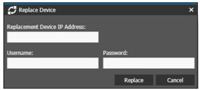 The Command user interface shows the Replace Device dialog box