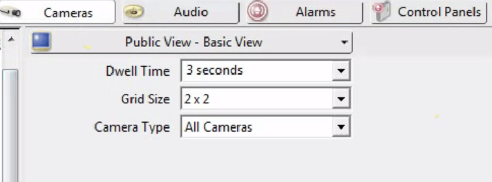 Dwell time, grid size settings on the Public View Monitor settings in Administrator Console