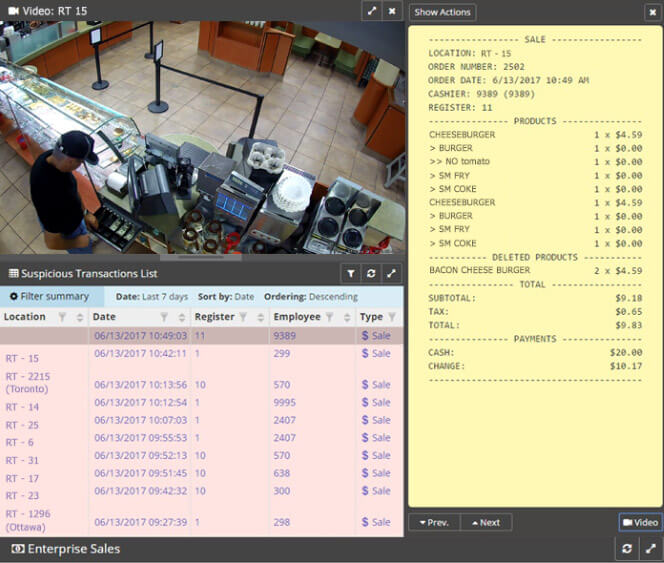 A video image of a man at a POS with receipt data beside it. Integrated video & POS data can quickly uncover employee theft