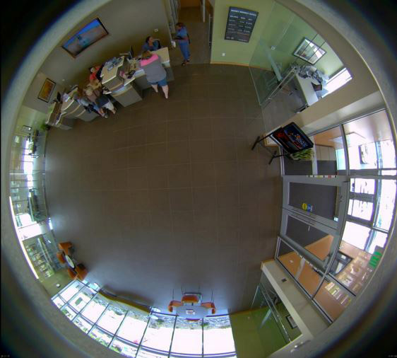 a 360-degree aerial video surveillance image from inside a bank.