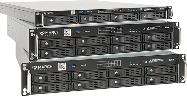 the 32, 48 and 64-channel models of March Networks 9000 Series IP Recorders