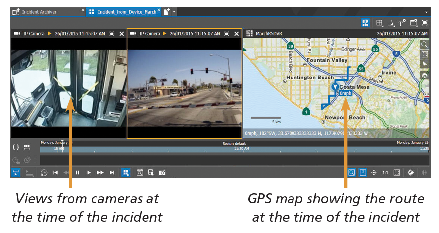 A section of the Command VMS software user interface displays a surveillance image from inside a bus with an image from outside the bus, and a map showing the GPS location of the bus.