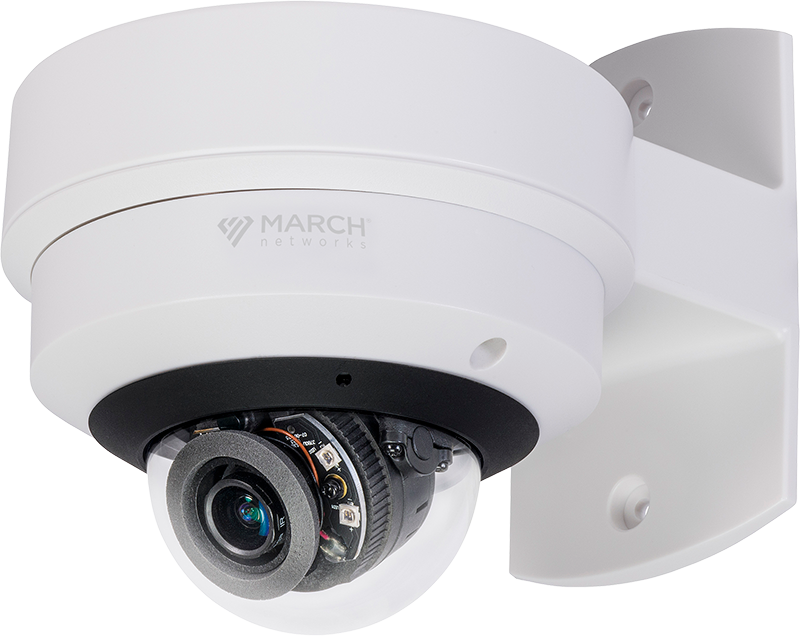 Alt-text, the ME4 IR MicDome security camera is seen with an optional wall mount