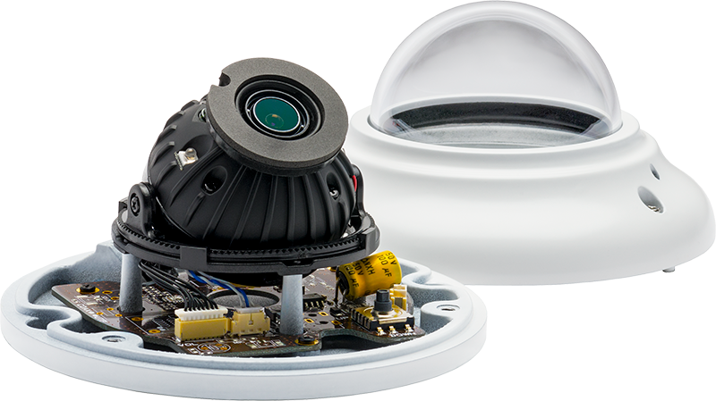 the CA2 IR MicroDome HD analog camera with its dome covering off