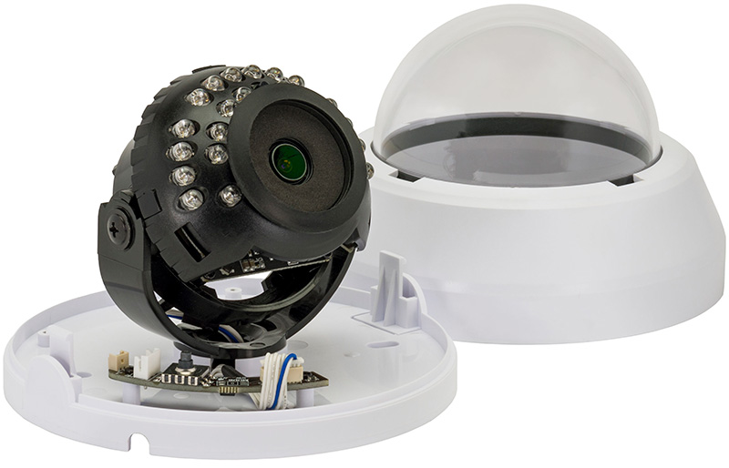 the SDA Indoor IR Dome security camera with its dome covering off