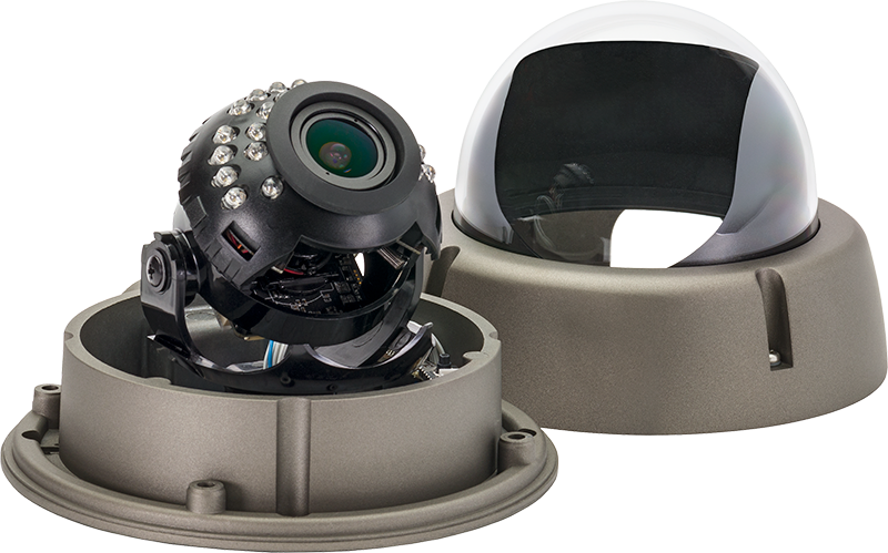 the SDA Outdoor IR Dome security camera with its dome covering off.