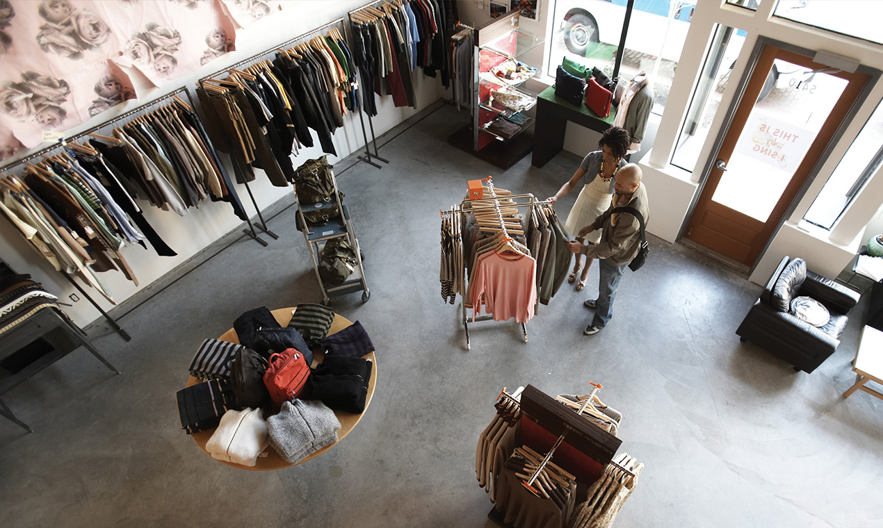 An image looking down on the inside of a retail store