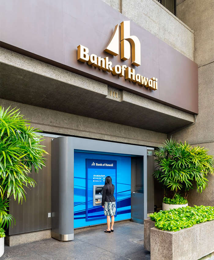 the exterior of a Bank of Hawaii bank branch