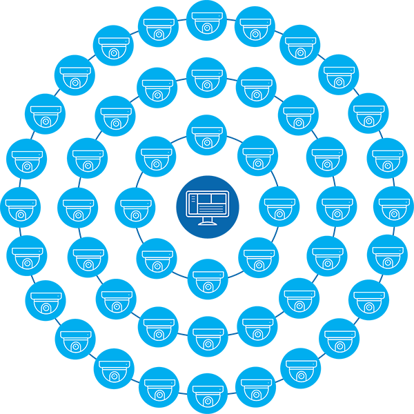 An illustration showing multiple security cameras around a computer monitor.