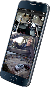 a mobile phone displays surveillance images from the Command Mobile app
