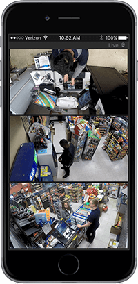 A smartphone displays video surveillance images in the Command Mobile app