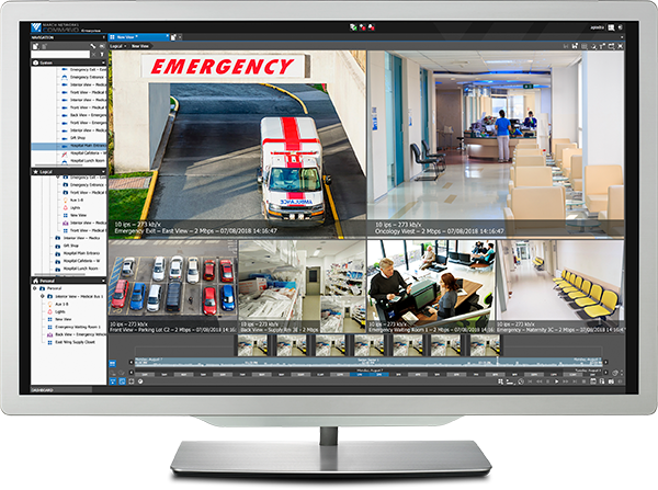 A computer monitor displays video surveillance inside the Command video management software user interface.