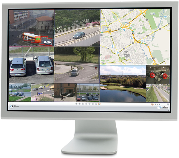 A computer monitor displays the DecodeStation VX software interface with surveillance images and a map.