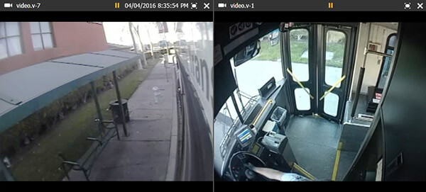a surveillance image of the outside of a bus station and a surveillance image from inside a bus.]