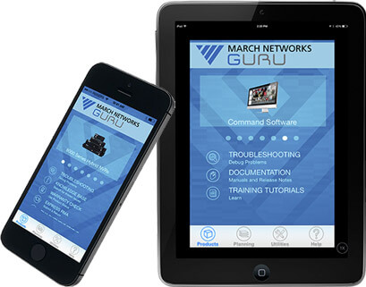 March Networks GURU smartphone app user interface is seen on an iPad