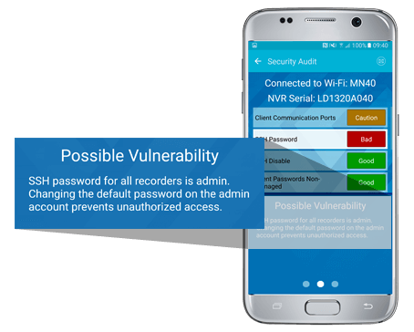 March Networks GURU Smartphone App displays the Security Audit feature