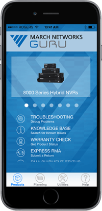 a phone displays the GURU interface with technical support resources for the 8000 Series Hybrid NVRs