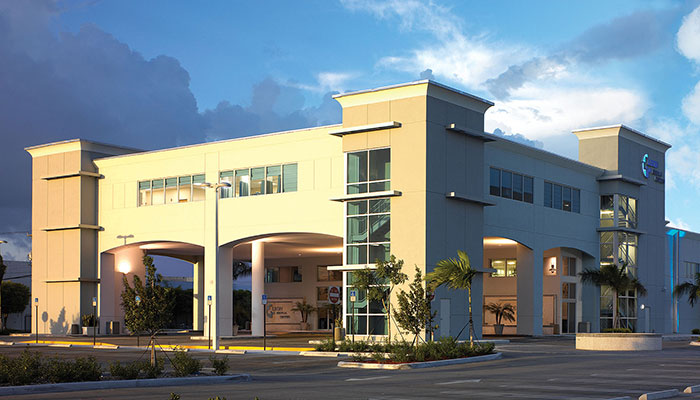 The outside of a Leon Medical Centers building in Hialeah, Florida.