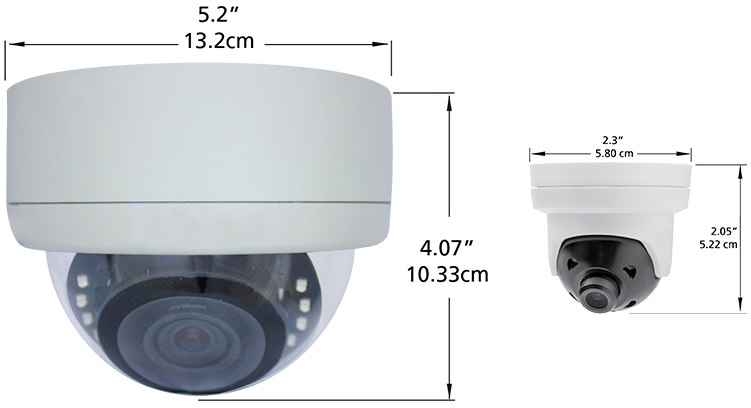 Two dome security cameras with their measurements are seen side by side.