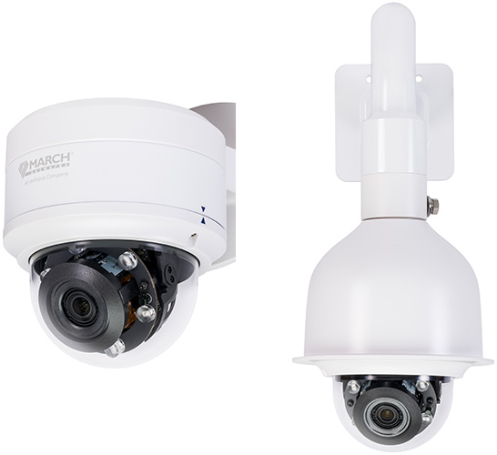 the ME4 Outdoor IR Dome is seen with an optional wall mount and sun shield.