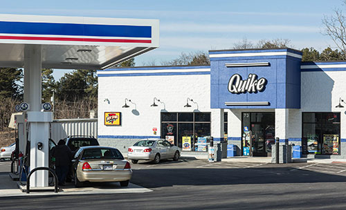 The outside of a Quik-E food c-store in Lynchburg, Virginia. The store is using March Networks video surveillance.