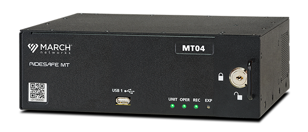 A March Networks RideSafe MT IP Recorder for video surveillance recording and management on mid-size vehicles.