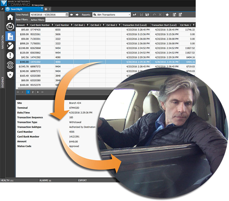 The Searchlight software user interface lists ATM transaction data and displays an image of a man in a car at an ATM.