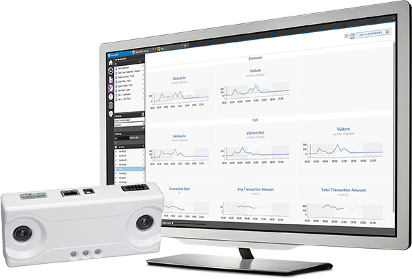 The Brickstream 3D sensor sits with a computer monitor displaying analytics data in the Searchlight user interface.