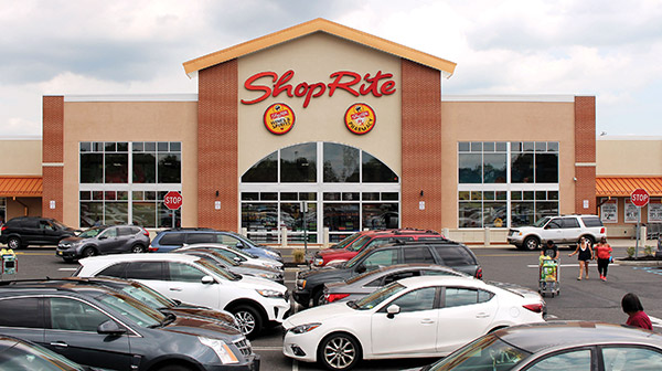 the outside of a ShopRite supermarket location in Burlington, New Jersey.