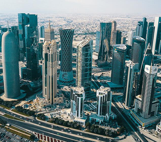 An aerial view of Qatar.