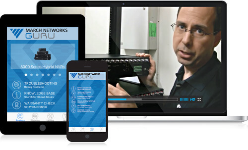 tablet and phone show March Networks training materials