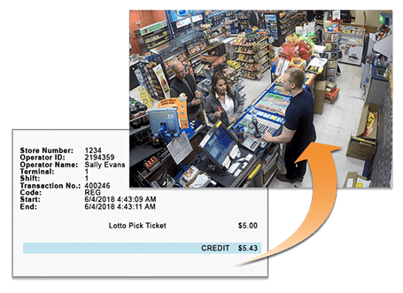 Surveillance image from a convenience store with a receipt
