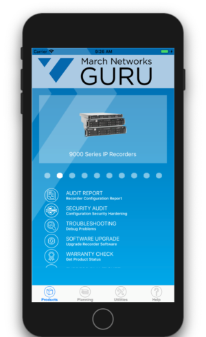 A phone displays the March Networks GURU smartphone app interface