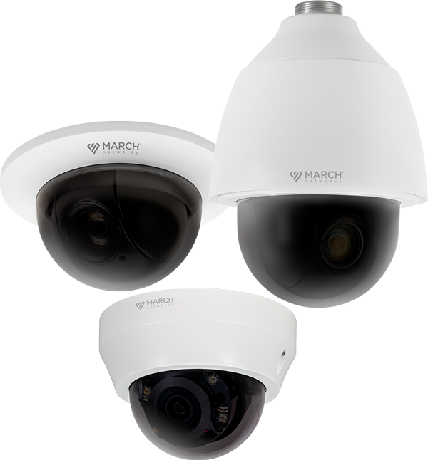 Three March Networks security cameras with smoked domes