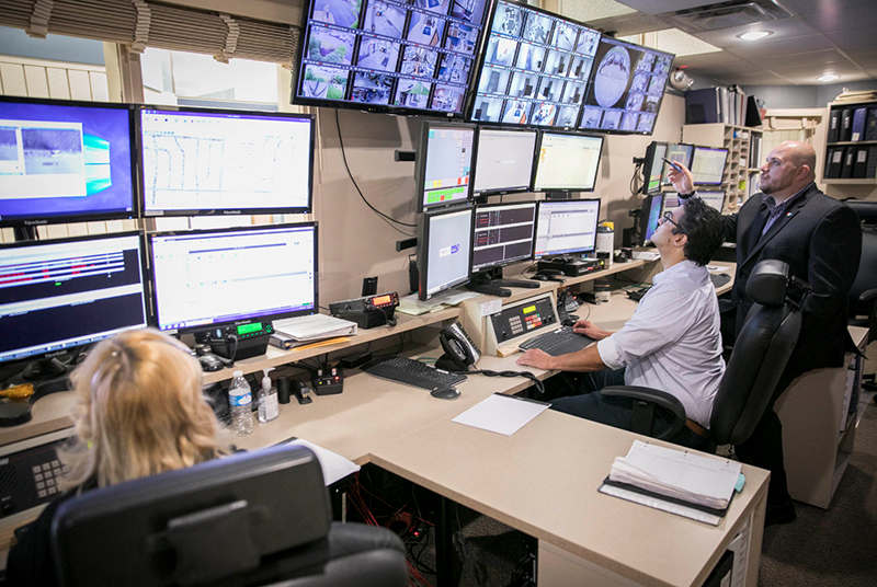 A video surveillance security control room in the City of Whitehall.