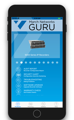 A smartphone with March Networks GURU Smartphone App