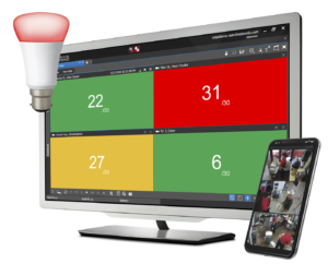 March Networks Health Compliance Solution monitor with Command Mobile and smart lighting system