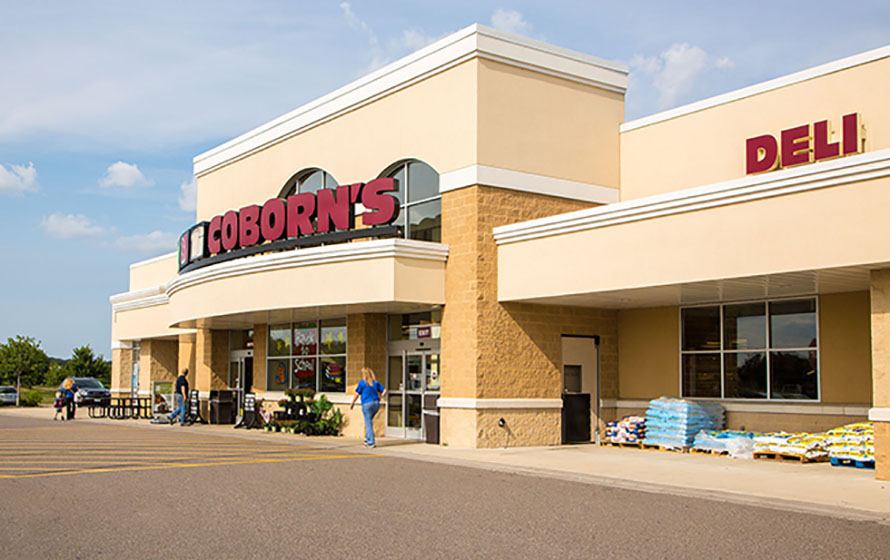 Exterior view of Coborn's grocery store.