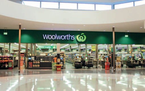 Exterior view of Woolworths grocery store.