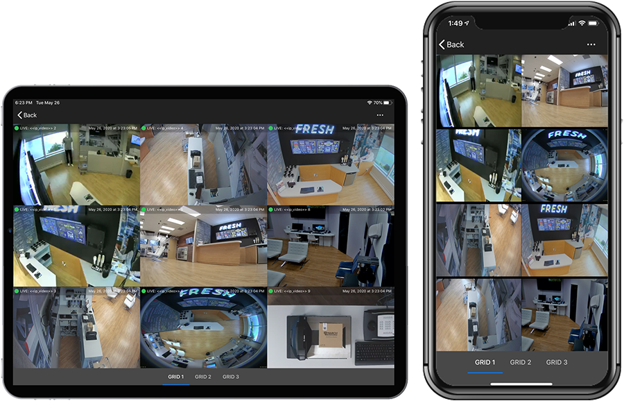 Command Mobile Plus multi-grid view on a tablet and smartphone