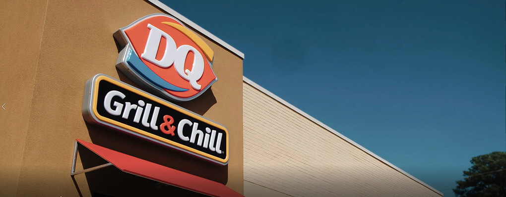 Dairy Queen Grill & Chill logo on outside of a building
