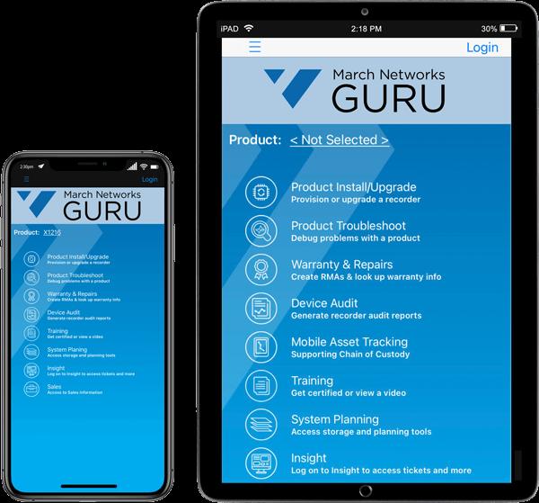 March Networks GURU smartphone app user interface is seen on an iPad