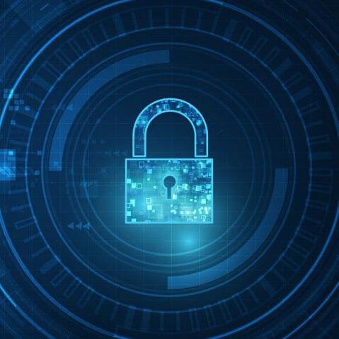 Blue key lock displayed on blue background